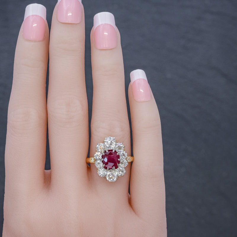 ANTIQUE VICTORIAN 1.60CT RUBY 3CT DIAMOND CLUSTER RING 18CT GOLD CIRCA 1880 HAND