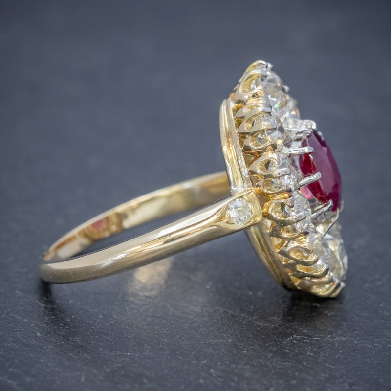 ANTIQUE VICTORIAN 1.60CT RUBY 3CT DIAMOND CLUSTER RING 18CT GOLD CIRCA 1880 SIDE2