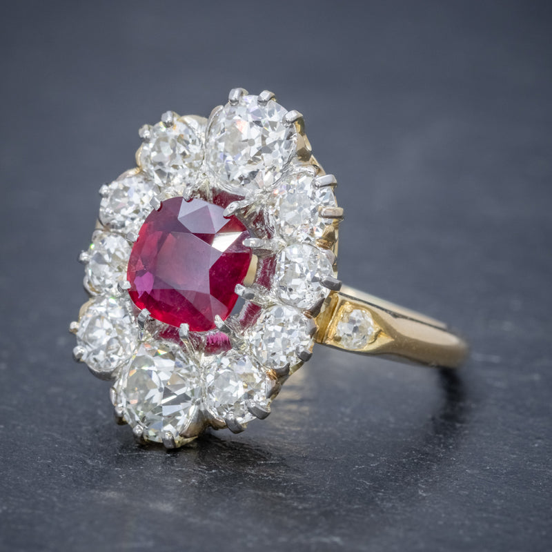 ANTIQUE VICTORIAN 1.60CT RUBY 3CT DIAMOND CLUSTER RING 18CT GOLD CIRCA 1880 SIDE