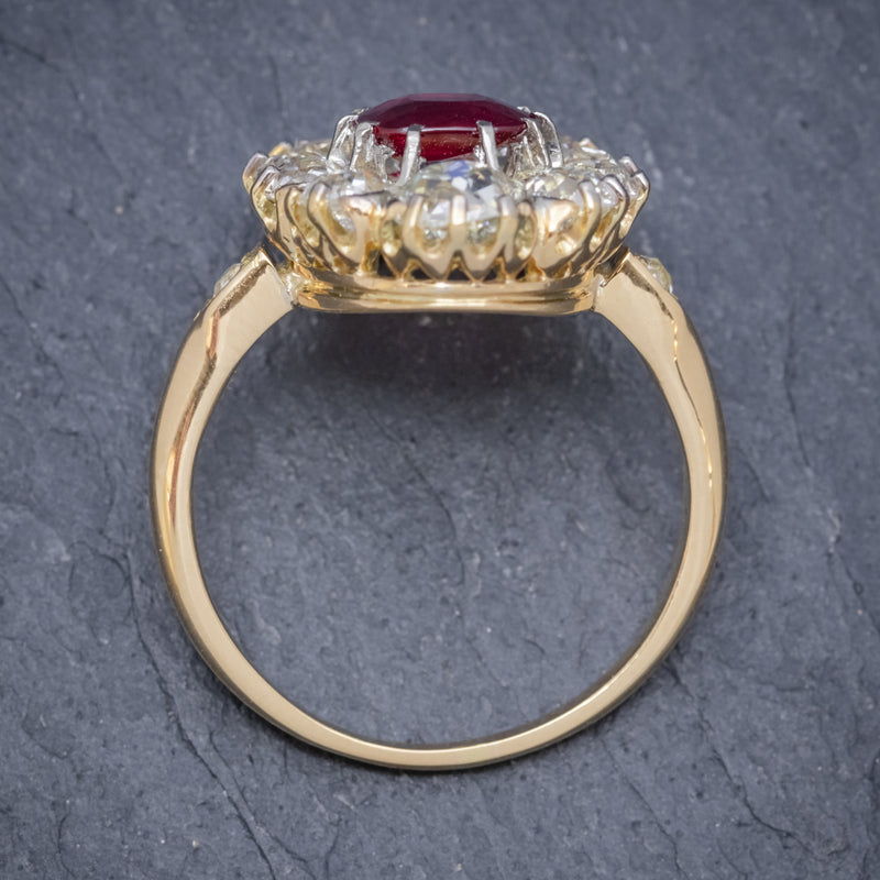ANTIQUE VICTORIAN 1.60CT RUBY 3CT DIAMOND CLUSTER RING 18CT GOLD CIRCA 1880 TOP