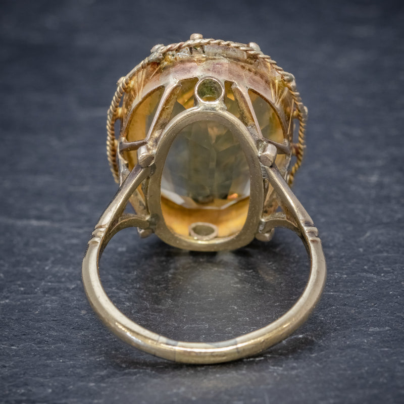 ANTIQUE VICTORIAN 12CT CITRINE RING 9CT GOLD CIRCA 1900 BACK