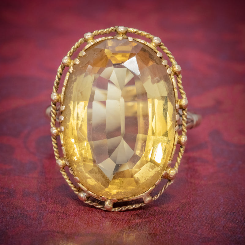 ANTIQUE VICTORIAN 12CT CITRINE RING 9CT GOLD CIRCA 1900 COVER