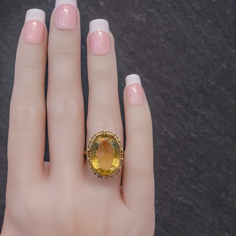 ANTIQUE VICTORIAN 12CT CITRINE RING 9CT GOLD CIRCA 1900 HAND
