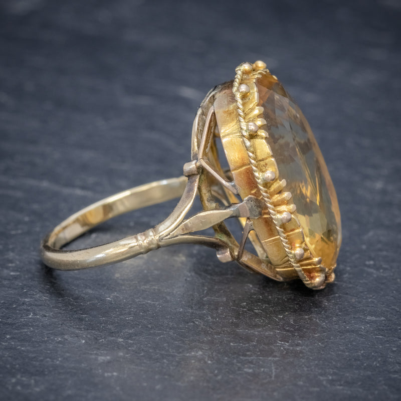 ANTIQUE VICTORIAN 12CT CITRINE RING 9CT GOLD CIRCA 1900 SIDE2