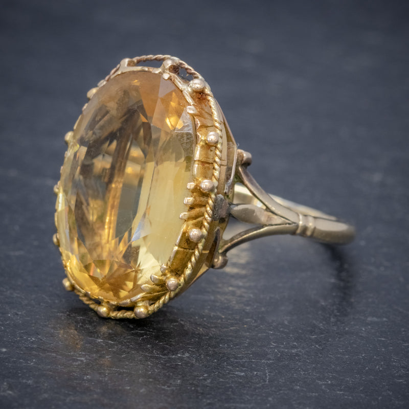 ANTIQUE VICTORIAN 12CT CITRINE RING 9CT GOLD CIRCA 1900 SIDE
