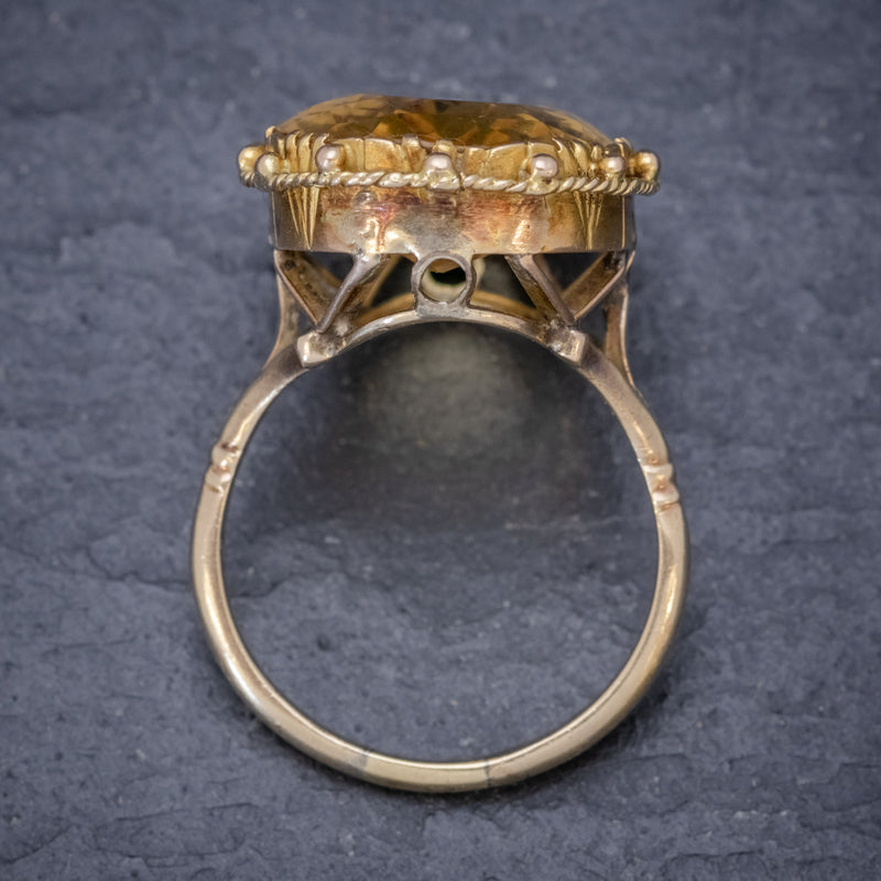 ANTIQUE VICTORIAN 12CT CITRINE RING 9CT GOLD CIRCA 1900 TOP