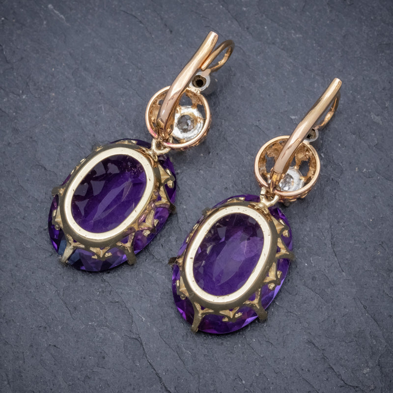 ANTIQUE VICTORIAN 18CT ROSE GOLD AMETHYST EARRINGS 16CT OF AMETHYST CIRCA 1900 BACK