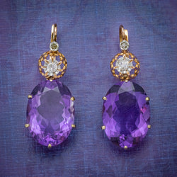 ANTIQUE VICTORIAN 18CT ROSE GOLD AMETHYST EARRINGS 16CT OF AMETHYST CIRCA 1900 COVER