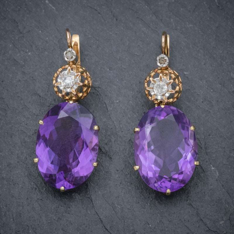 ANTIQUE VICTORIAN 18CT ROSE GOLD AMETHYST EARRINGS 16CT OF AMETHYST CIRCA 1900 FRONT