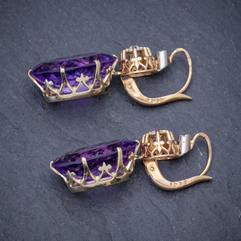 ANTIQUE VICTORIAN 18CT ROSE GOLD AMETHYST EARRINGS 16CT OF AMETHYST CIRCA 1900 SIDE