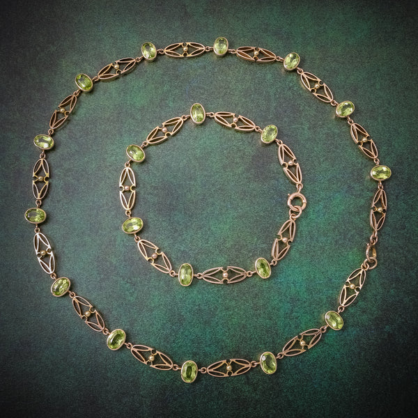 Antique Victorian 15ct Gold Peridot Necklace And Bracelet Set Circa 1900 COVER