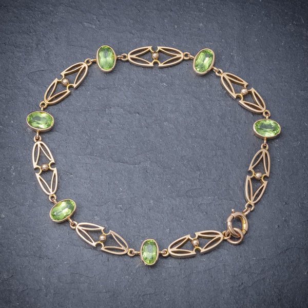 Antique Victorian 15ct Gold Peridot Necklace And Bracelet Set Circa 1900 BRACELET