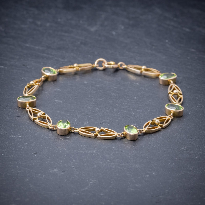 Antique Victorian 15ct Gold Peridot Necklace And Bracelet Set Circa 1900 SIDE