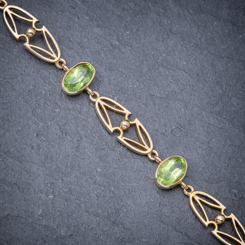 Antique Victorian 15ct Gold Peridot Necklace And Bracelet Set Circa 1900 STONES