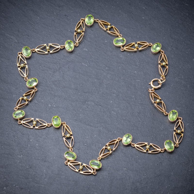 Antique Victorian 15ct Gold Peridot Necklace And Bracelet Set Circa 1900 TOP