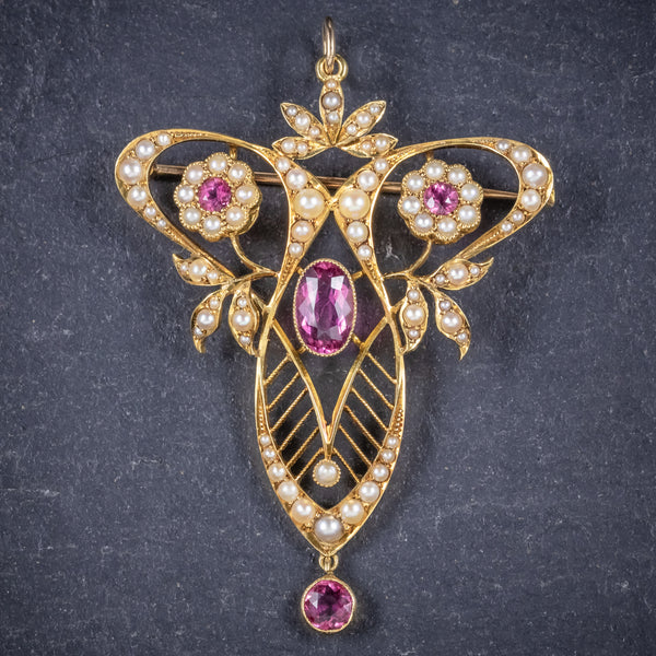 Antique Victorian 15ct Gold Pink Tourmaline Pearl Pendant Brooch Circa 1900 front