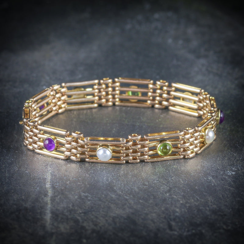 ANTIQUE VICTORIAN 15CT GOLD SUFFRAGETTE BRACELET CIRCA 1900 SIDE