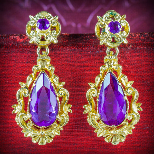 ANTIQUE VICTORIAN AMETHYST DROP EARRINGS 18CT GOLD CIRCA 1900 COVER
