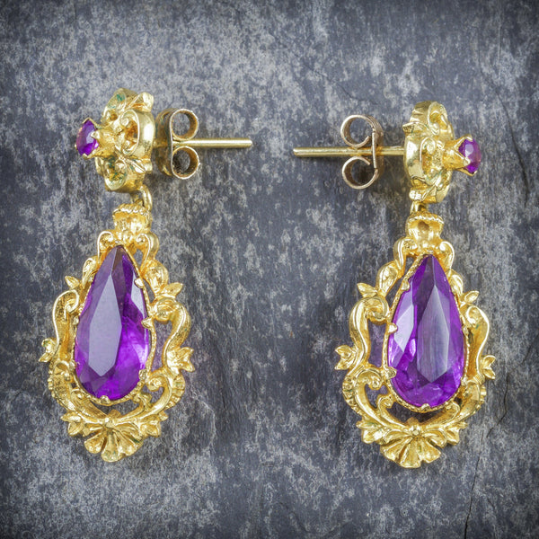 ANTIQUE VICTORIAN AMETHYST DROP EARRINGS 18CT GOLD CIRCA 1900 FRONT