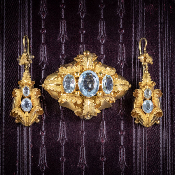 Antique Victorian 18ct Gold Aquamarine Brooch And Earrings Set Circa 1860 Boxed