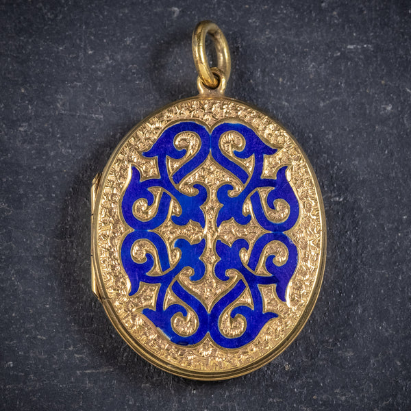 ANTIQUE VICTORIAN 18CT GOLD GILT BLUE ENAMEL LOCKET CIRCA 1880 FRONT