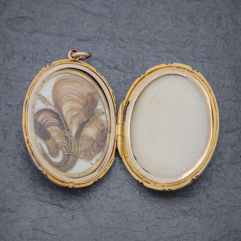 Antique Victorian 18ct Gold Locket Mourning Hair Circa 1860 OPEN