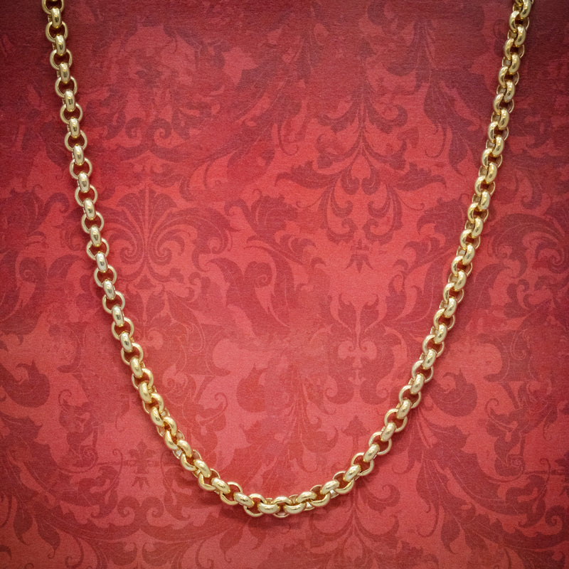 ANTIQUE VICTORIAN 18CT GOLD ON SILVER BELCHER LINK CHAIN CIRCA 1900 cover