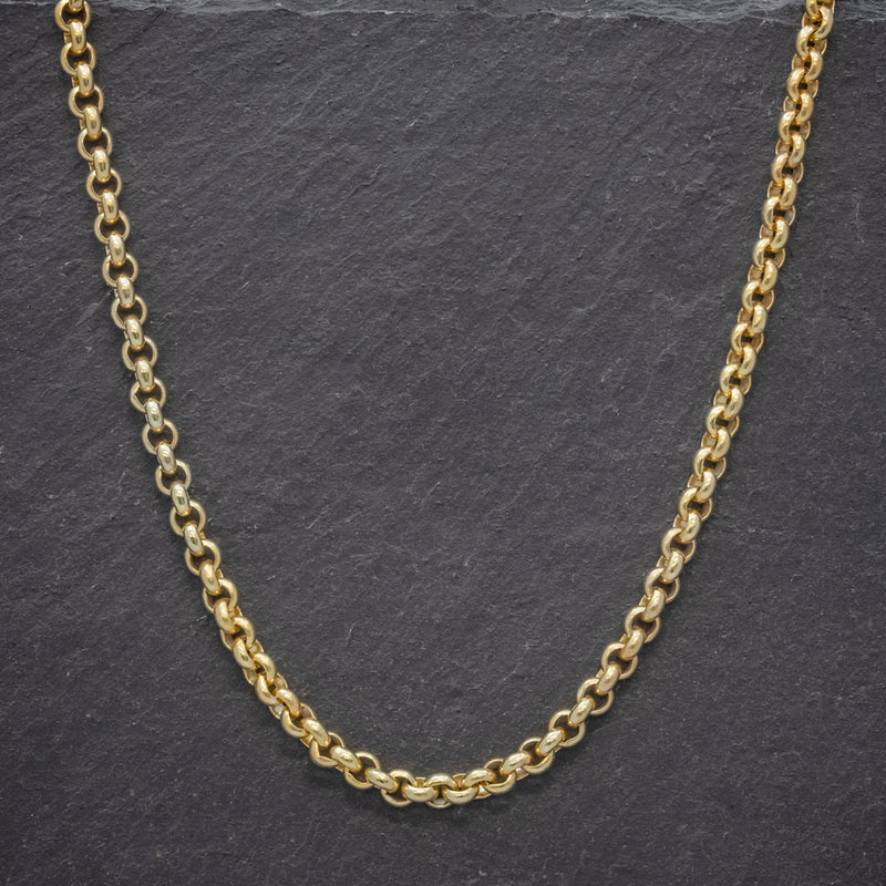 ANTIQUE VICTORIAN 18CT GOLD ON SILVER BELCHER LINK CHAIN CIRCA 1900 front