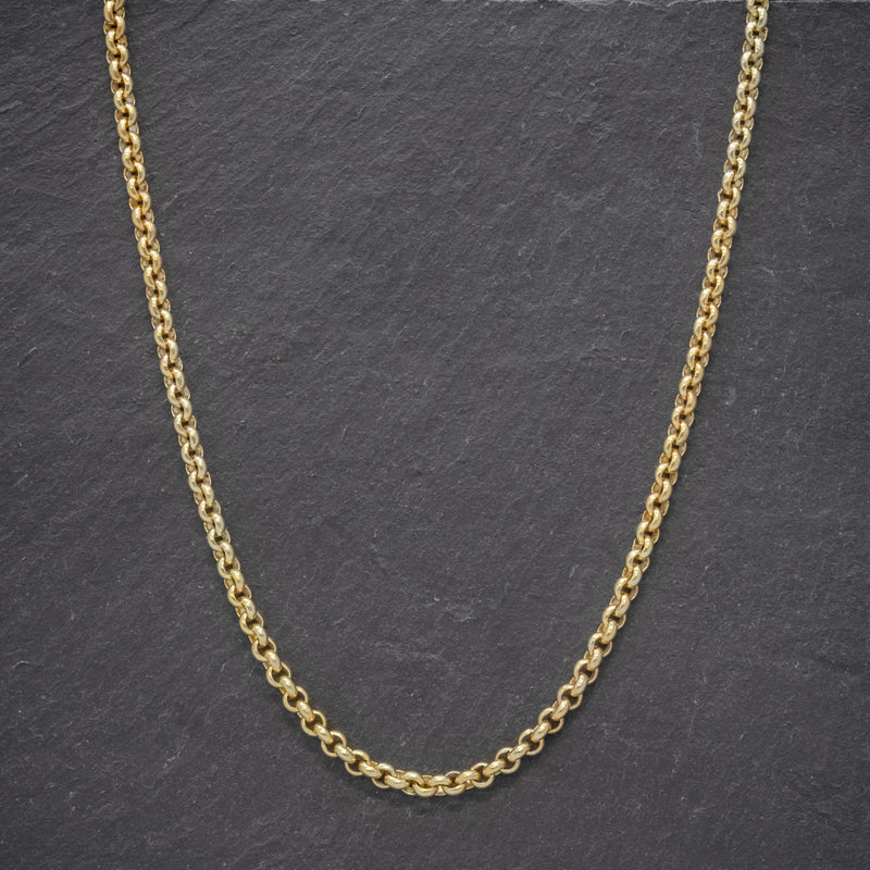 ANTIQUE VICTORIAN 18CT GOLD ON SILVER BELCHER LINK CHAIN CIRCA 1900 neck