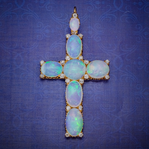 ANTIQUE VICTORIAN 35CT OPAL CROSS PENDANT DIAMOND 18CT GOLD CIRCA 1900 COVER