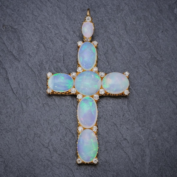 ANTIQUE VICTORIAN 35CT OPAL CROSS PENDANT DIAMOND 18CT GOLD CIRCA 1900 FRONT