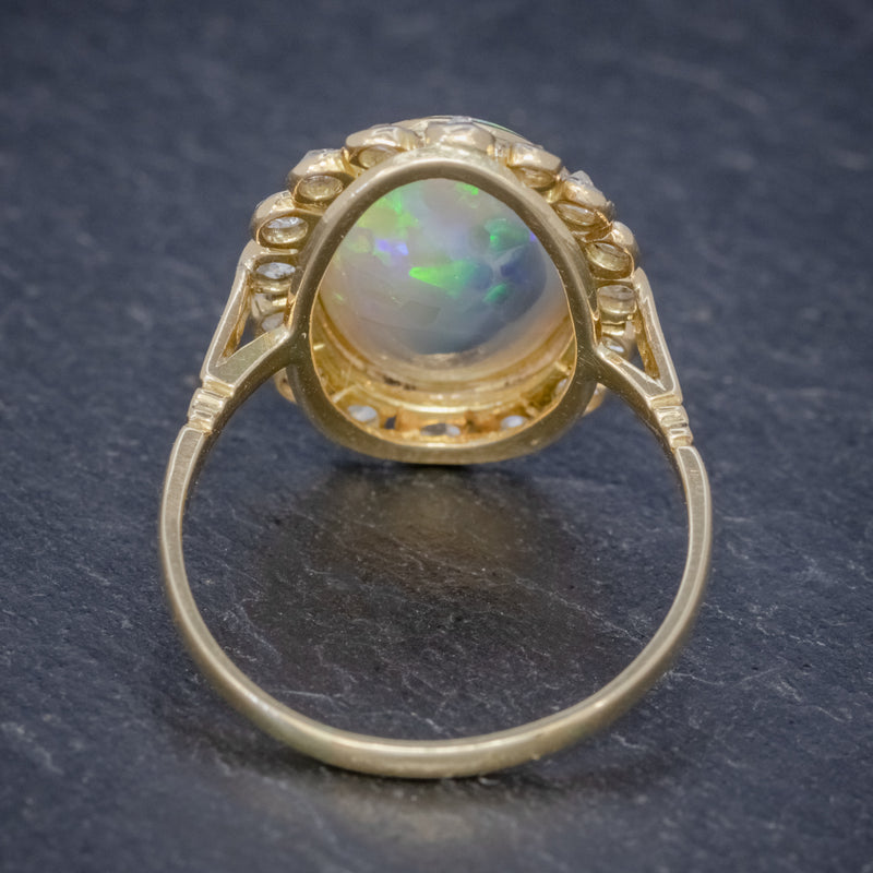 Antique Victorian 6ct Natural Opal Diamond Cluster Ring 18ct Gold Circa 1900 BACK