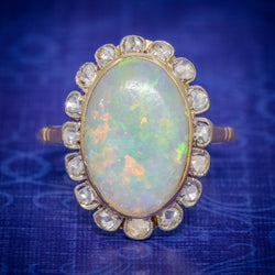 Antique Victorian 6ct Natural Opal Diamond Cluster Ring 18ct Gold Circa 1900 COVER