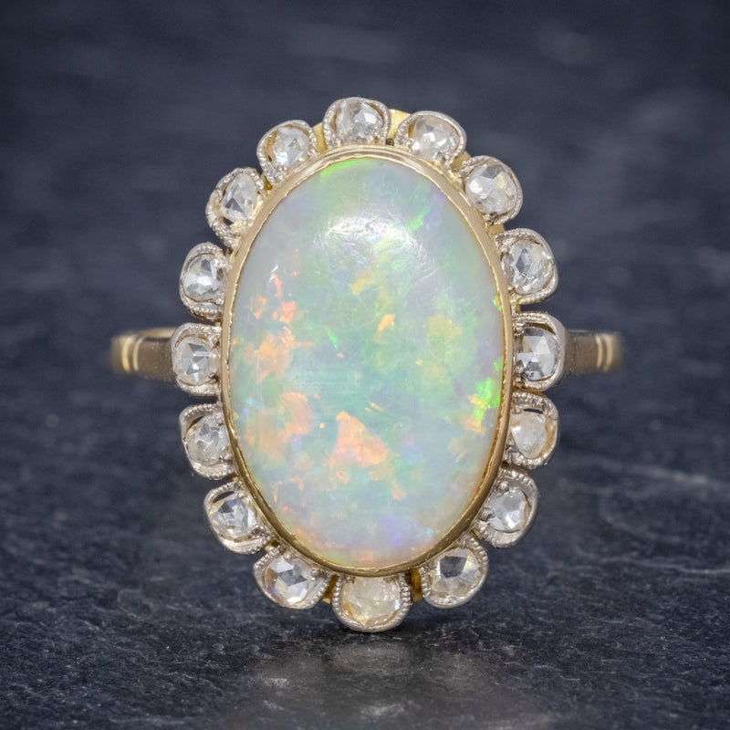 Antique Victorian 6ct Natural Opal Diamond Cluster Ring 18ct Gold Circa 1900 FRONT