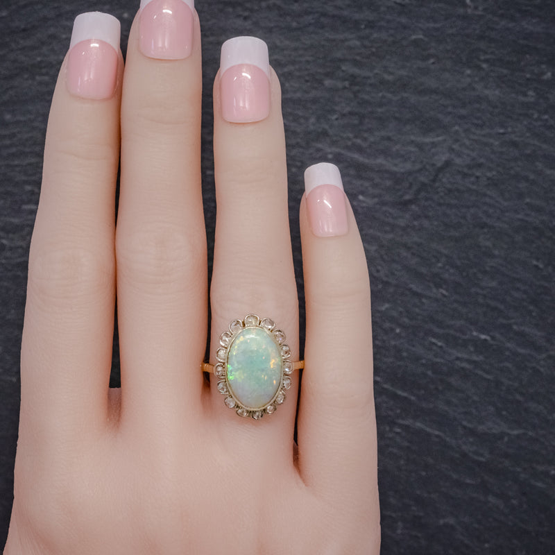 Antique Victorian 6ct Natural Opal Diamond Cluster Ring 18ct Gold Circa 1900 HAND