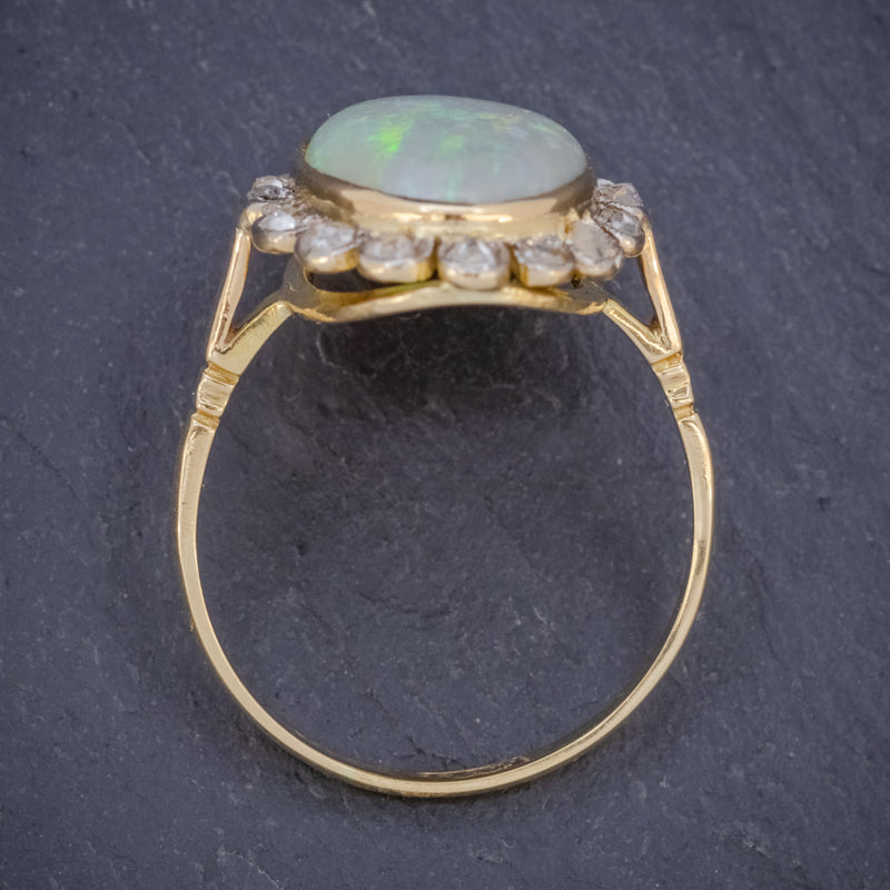 Antique Victorian 6ct Natural Opal Diamond Cluster Ring 18ct Gold Circa 1900 TOP