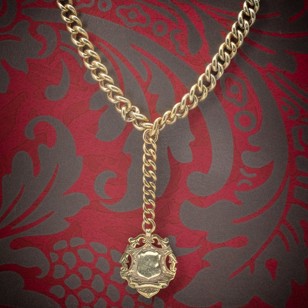 Antique Victorian Albert Chain 18ct Gold On Silver Necklace Dated 1900 cover