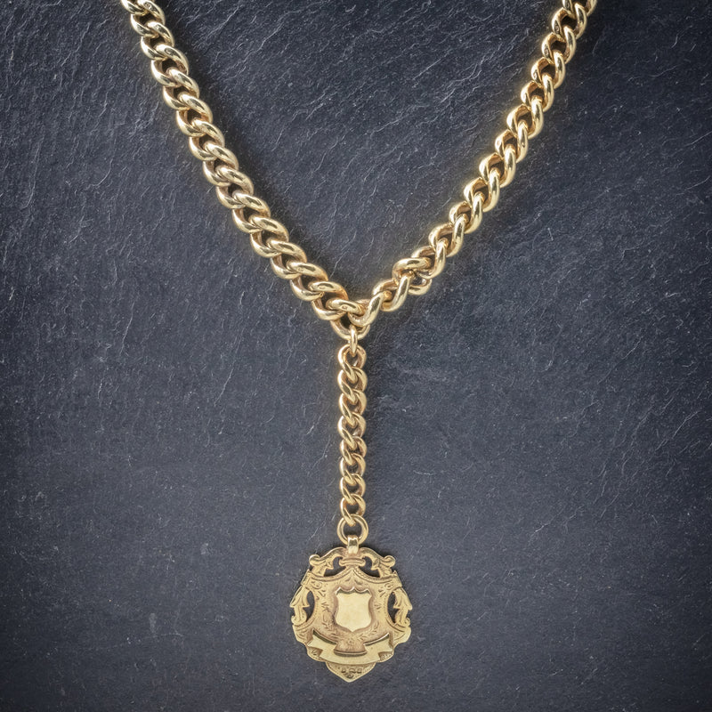 Antique Victorian Albert Chain 18ct Gold On Silver Necklace Dated 1900 neck