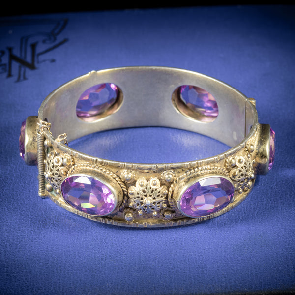 Antique Victorian Amethyst Bangle Gold Gilt Circa 1900 COVER