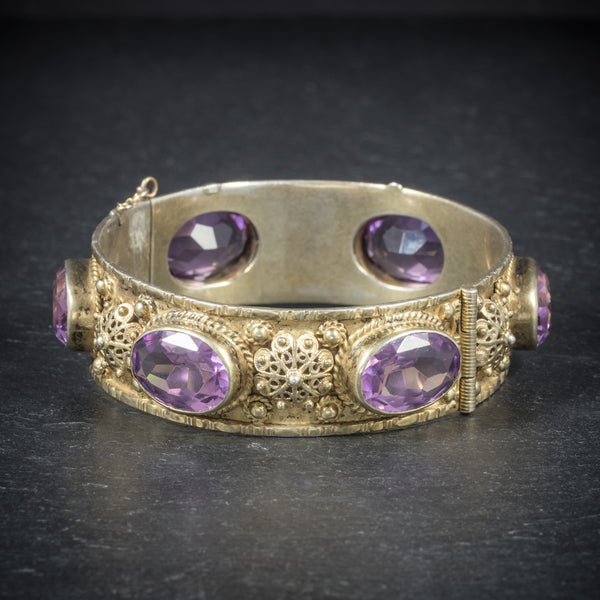 Antique Victorian Amethyst Bangle Gold Gilt Circa 1900 FRONT