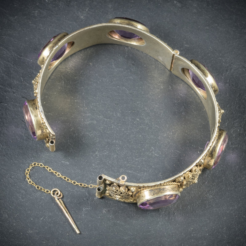 Antique Victorian Amethyst Bangle Gold Gilt Circa 1900 OPEN