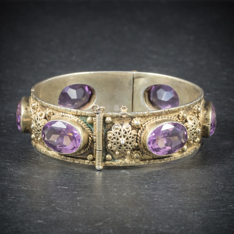 Antique Victorian Amethyst Bangle Gold Gilt Circa 1900 SIDE