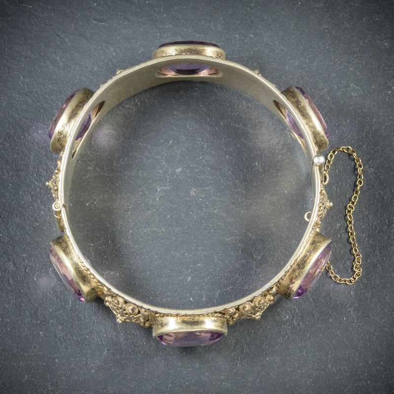 Antique Victorian Amethyst Bangle Gold Gilt Circa 1900 TOP