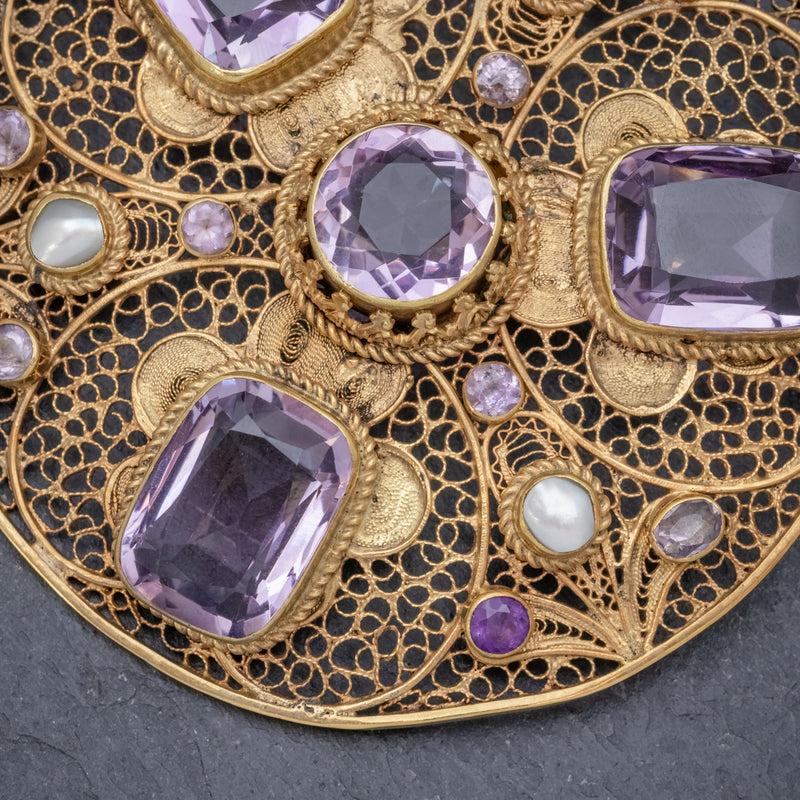ANTIQUE VICTORIAN AMETHYST BROOCH PEARL 18CT GOLD SILVER CIRCA 1900 CLOSE