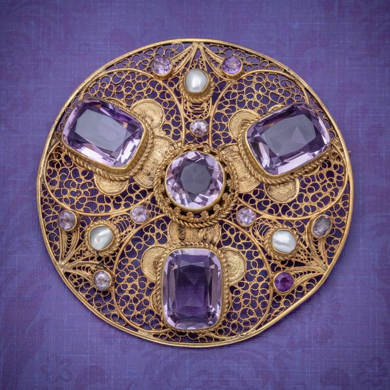 ANTIQUE VICTORIAN AMETHYST BROOCH PEARL 18CT GOLD SILVER CIRCA 1900 COVER