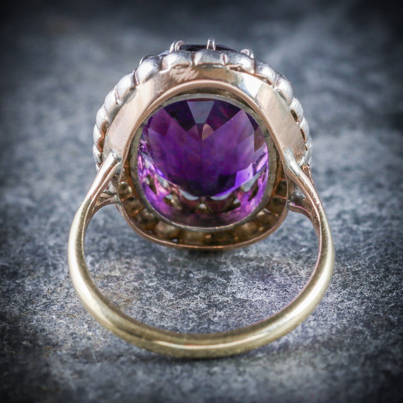 ANTIQUE VICTORIAN AMETHYST DIAMOND RING 9CT GOLD CIRCA 1900 BACK