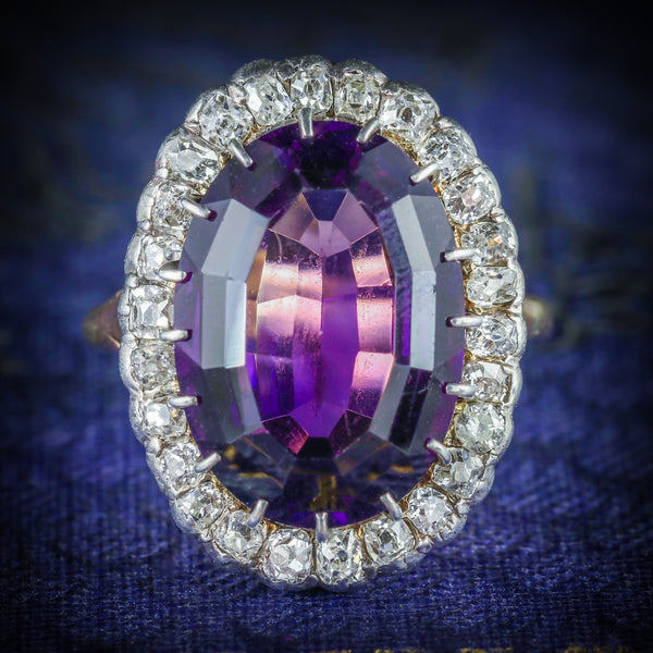 ANTIQUE VICTORIAN AMETHYST DIAMOND RING 9CT GOLD CIRCA 1900 COVER