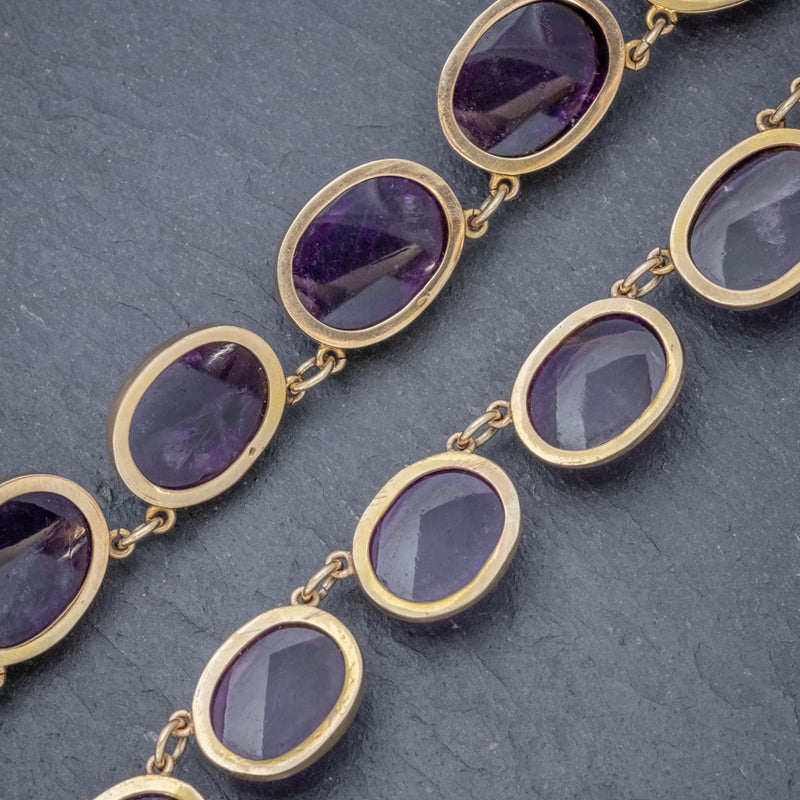 ANTIQUE VICTORIAN AMETHYST NECKLACE 15CT GOLD COLLAR CIRCA 1880 BACK