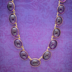 ANTIQUE VICTORIAN AMETHYST NECKLACE 15CT GOLD COLLAR CIRCA 1880 COVER