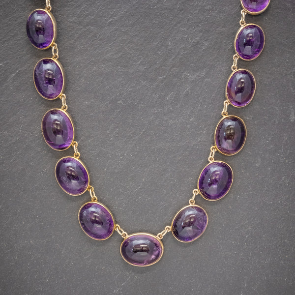 ANTIQUE VICTORIAN AMETHYST NECKLACE 15CT GOLD COLLAR CIRCA 1880 FRONT